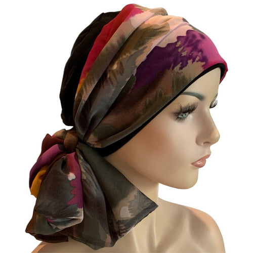 Donna Hat with Scarf Set - Black Hat with Night Garden Chiffon Scarf