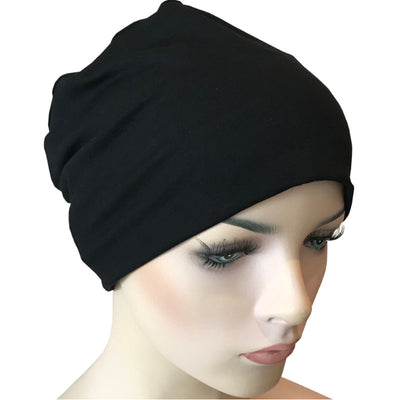 Donna Hat with Scarf Set - Black Bamboo Hat with Black-White&Lurex Chiffon Scarf