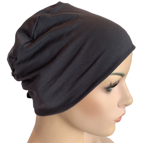 Donna Hat with Loop for Scarf - Bamboo - Charcoal