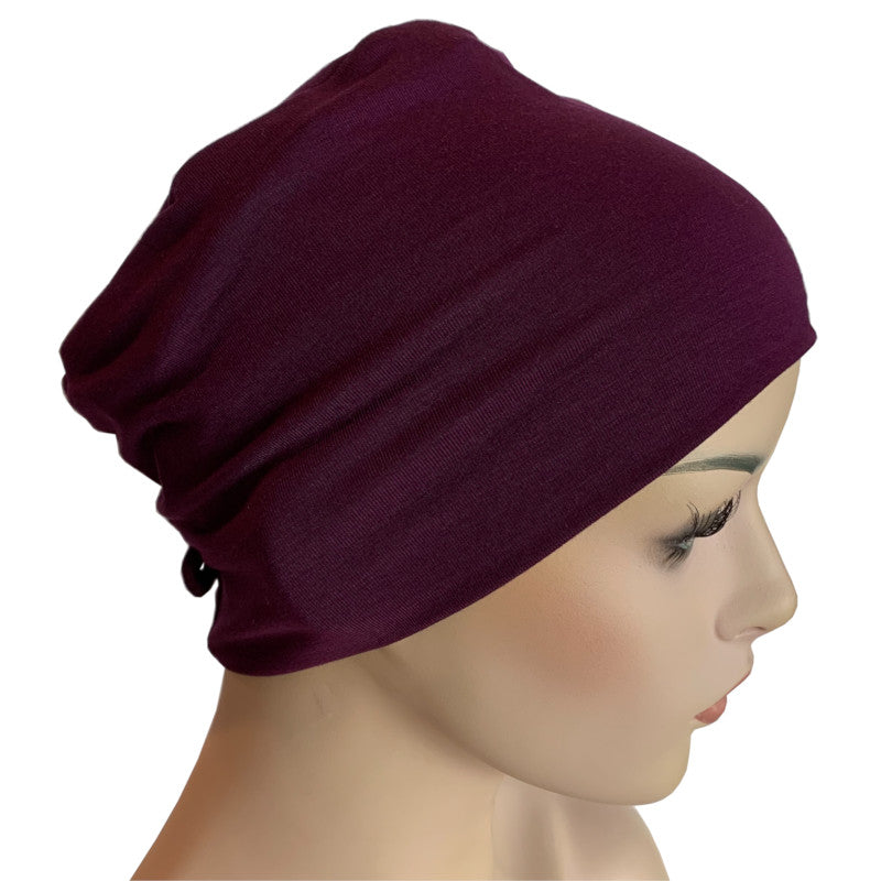 Donna Hat with Loop for Scarf - Bamboo - Plum