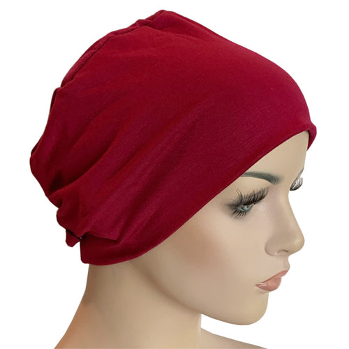 Donna Hat with Loop for Scarf - Bamboo - Ruby