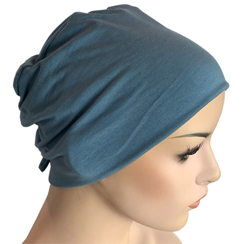 Donna Hat with Loop for Scarf - Bamboo - Tidal Blue