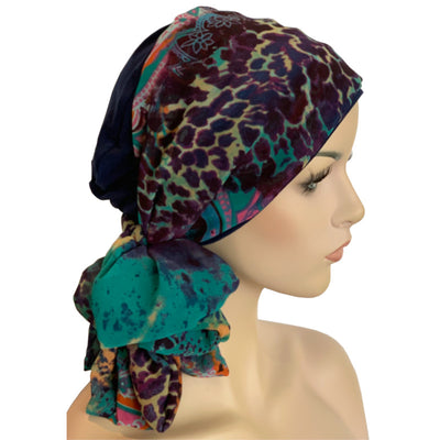 Donna Hat with Scarf Set - Navy Bamboo Hat with Jewel Chiffon Scarf