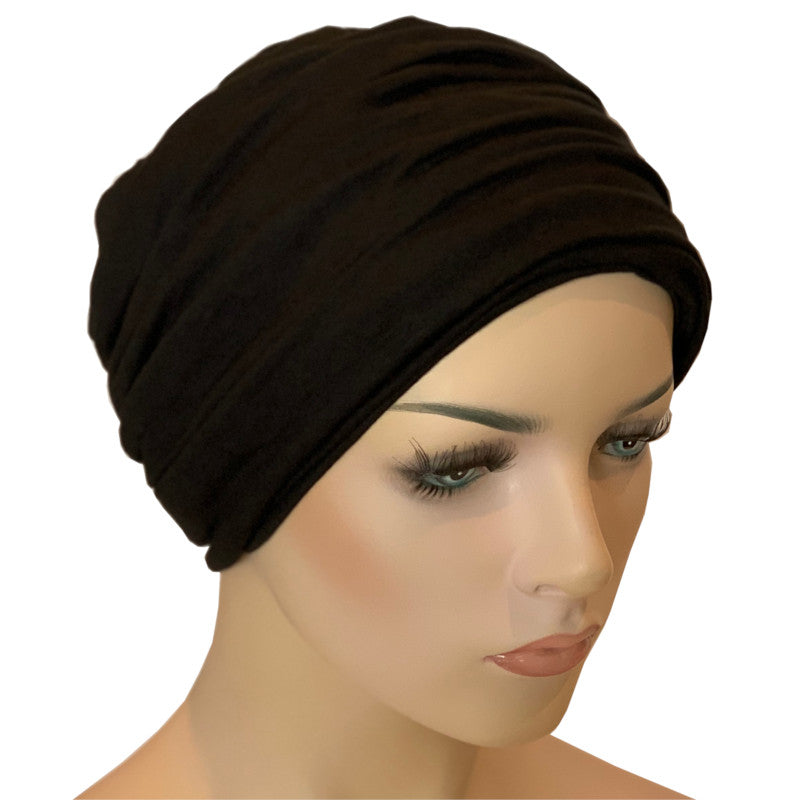 Donna Hat with Matching Headband - Black Bamboo