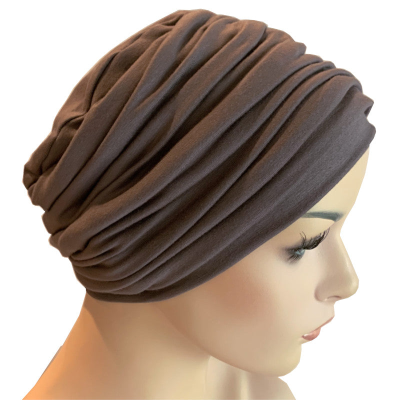 Donna Hat with Matching Headband - Dark Taupe Bamboo