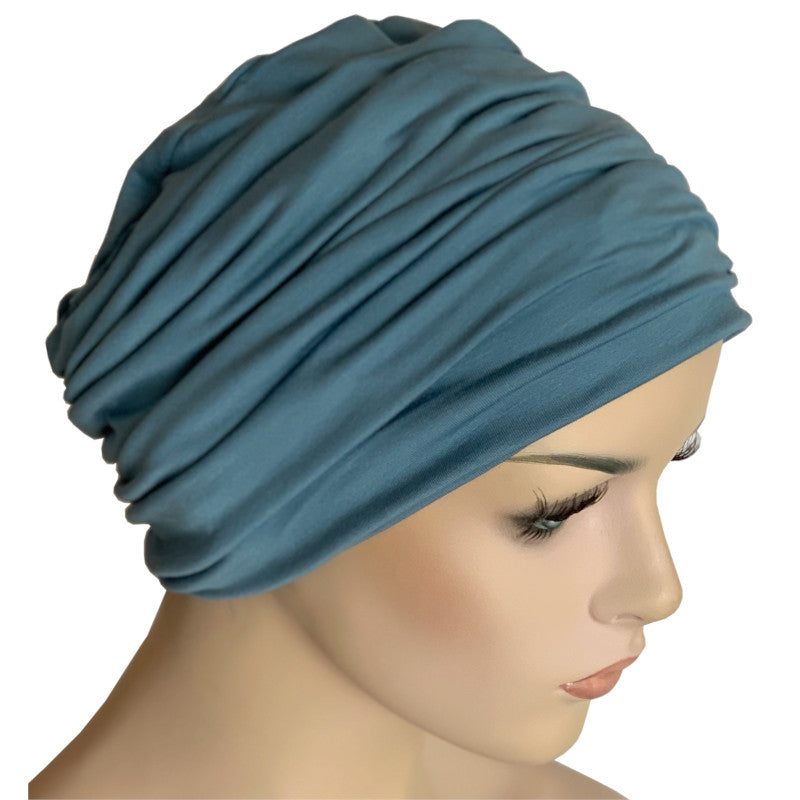 Donna Hat with Matching Headband - Tidal Blue Bamboo