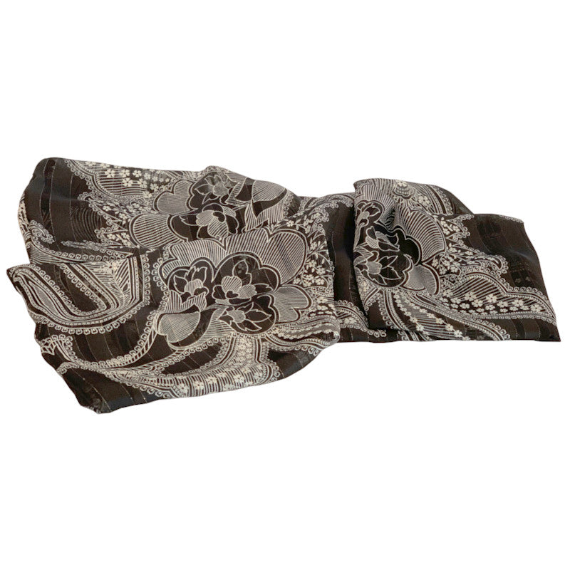 Donna Scarves - Black,White & Lurex Chiffon Scarf