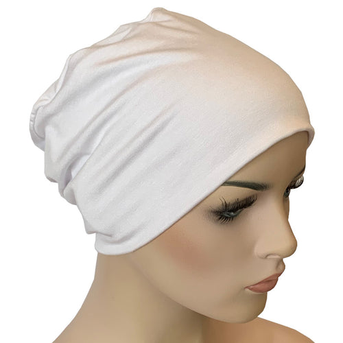 Donna Hat with Loop for Scarf - Bamboo - White