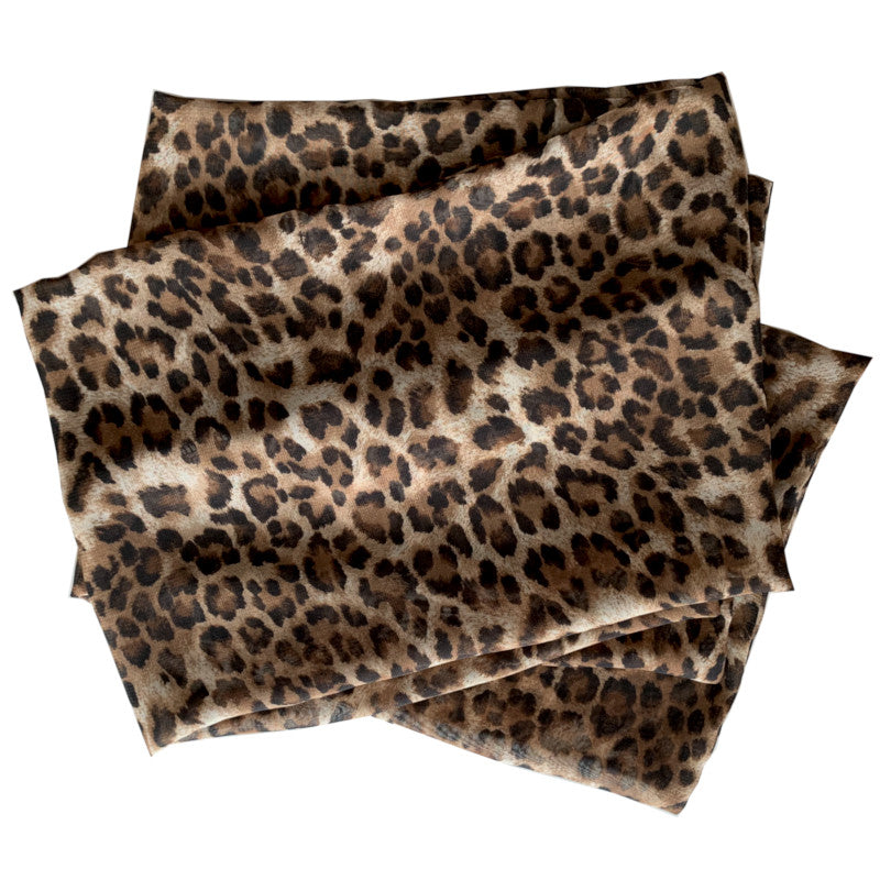 Donna Scarves - Brown Leopard Chiffon Scarf