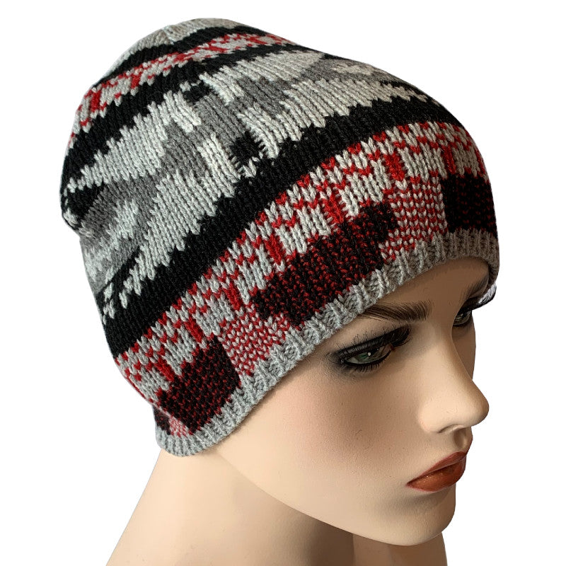 Fashion Beanies - Acrylic Knit - Grey, Black and Red