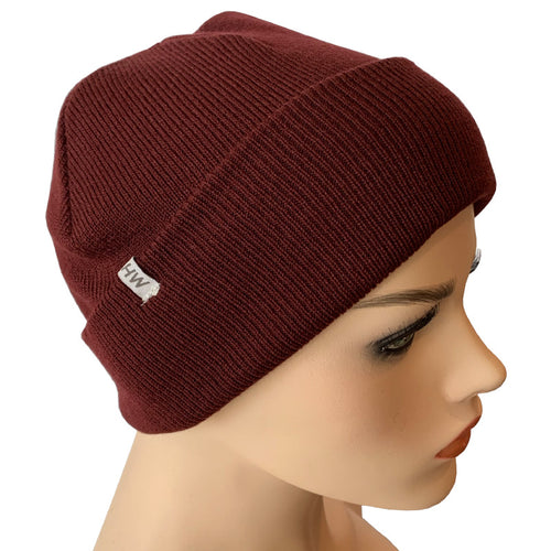 Fashion Beanies - Acrylic Knit - Burgundy