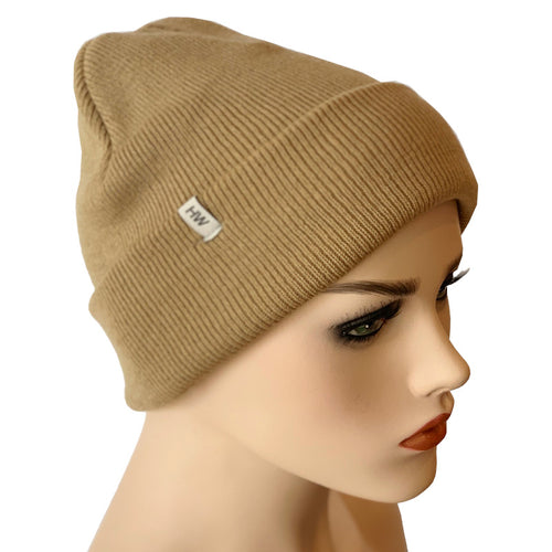 Fashion Beanies - Acrylic Knit - Camel