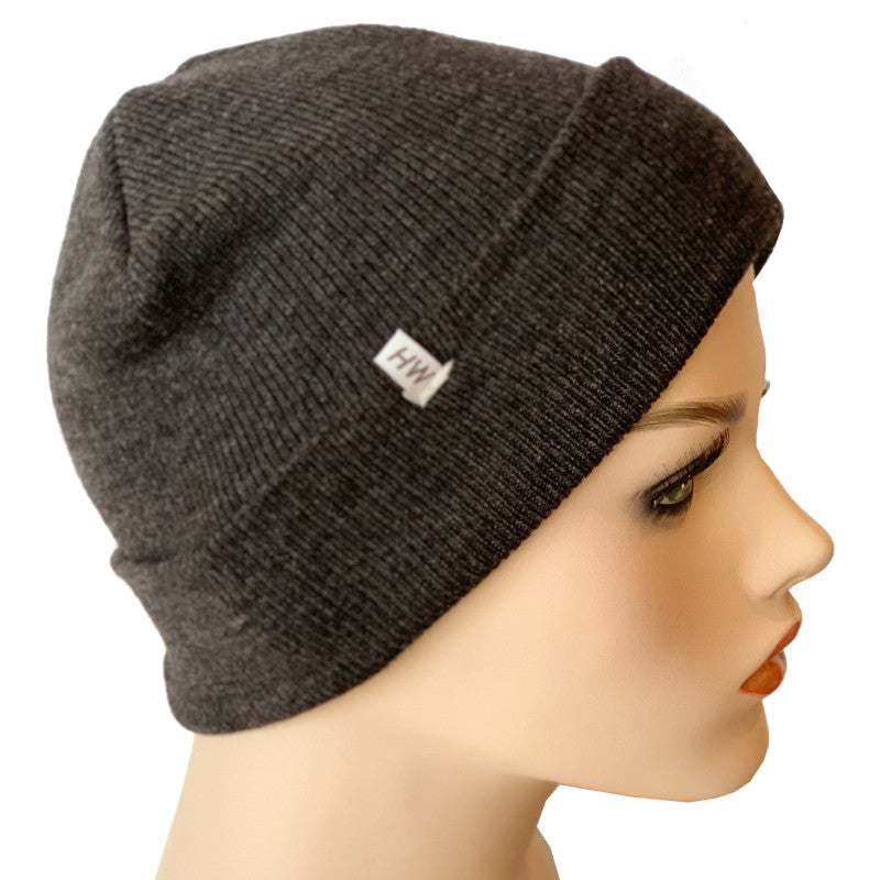 Fashion Beanies - Acrylic Knit - Charcoal Marle