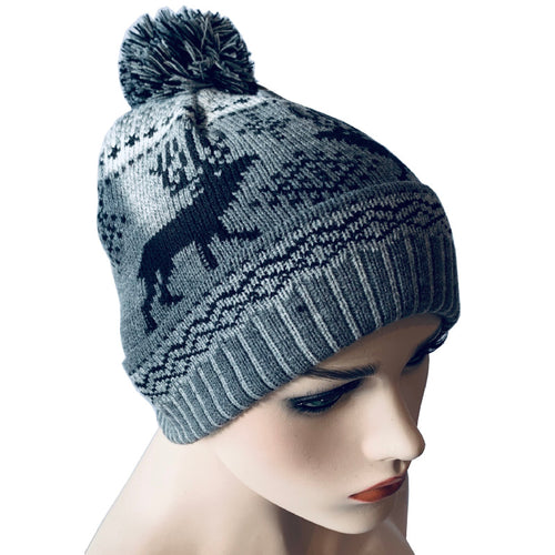 Fashion Beanies - Pom Pom Hat with Reindeer Pattern - Grey