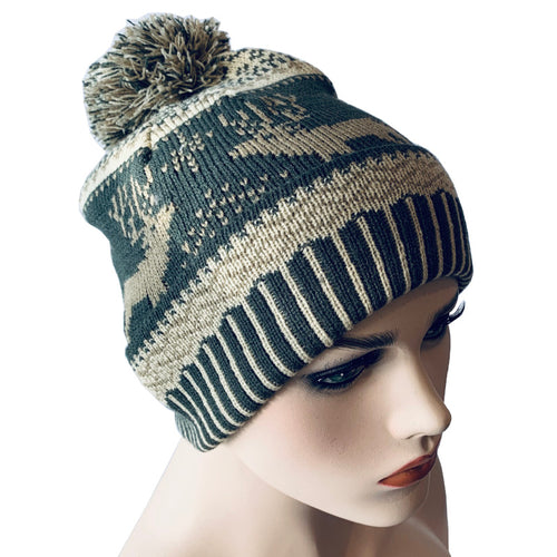 Fashion Beanies - Pom Pom Hat with Reindeer Pattern - Olive