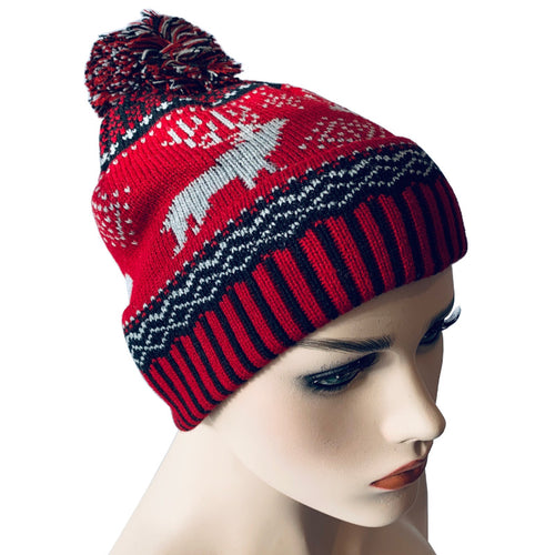 Fashion Beanies - Pom Pom Hat with Reindeer Pattern - Red