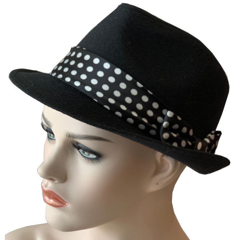 Casual Hats - Black Fedora - Black with White Spots Trim