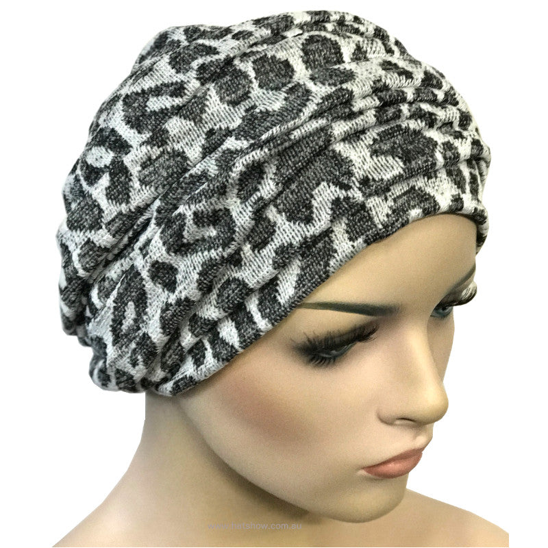 Headwrap Turban - Grey with Black Paw Prints