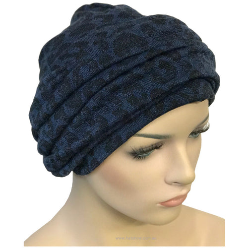 Headwrap Turban - Navy with Black Paw Prints