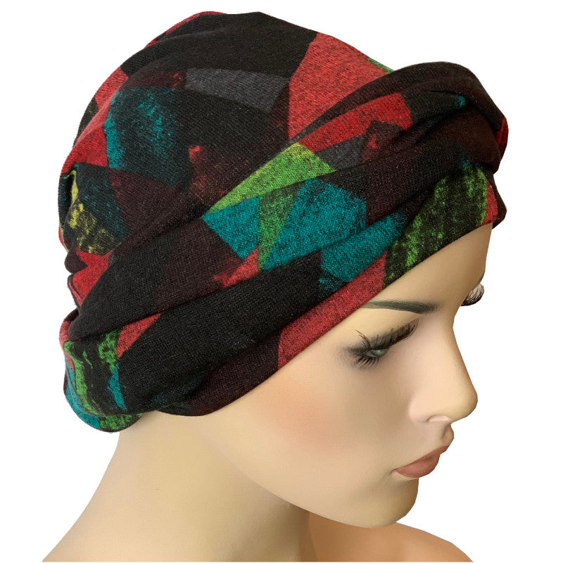 Headwrap Turban - Harlequin - NO TIE - MADE IN AUSTRALIA.