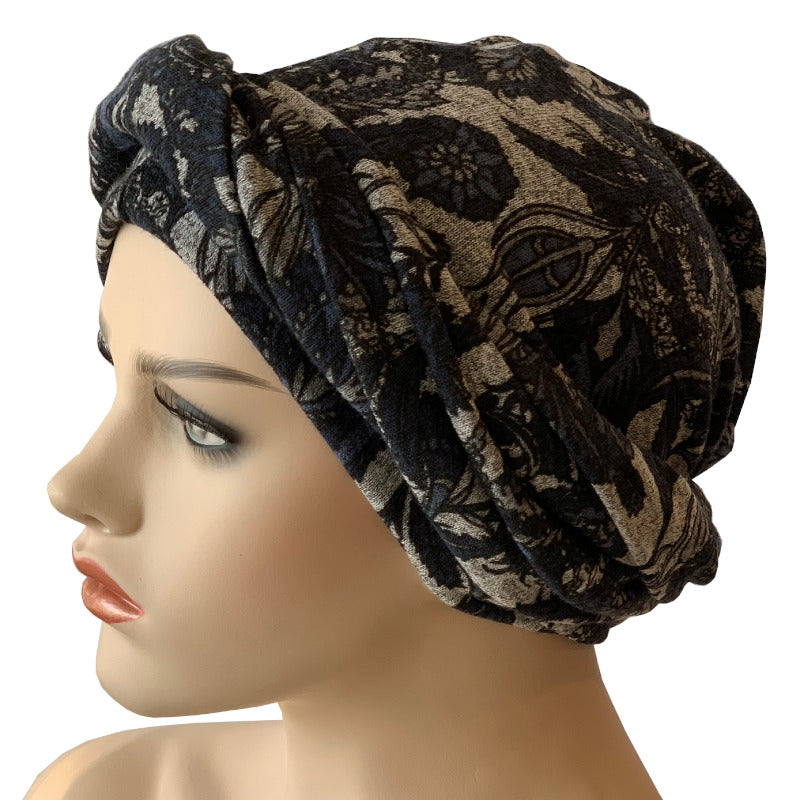 Headwrap Turban - Navy Lotus on Grey