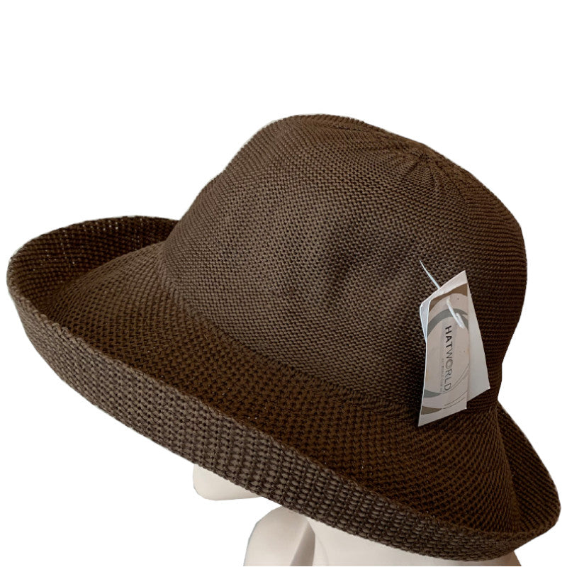Sun Hats - Polyester Knit - Breton Style - Brown