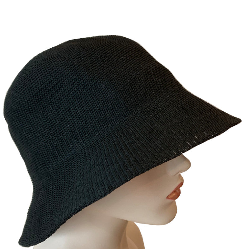 Sun Hat - Bucket Style - Knitted Polyester - Black