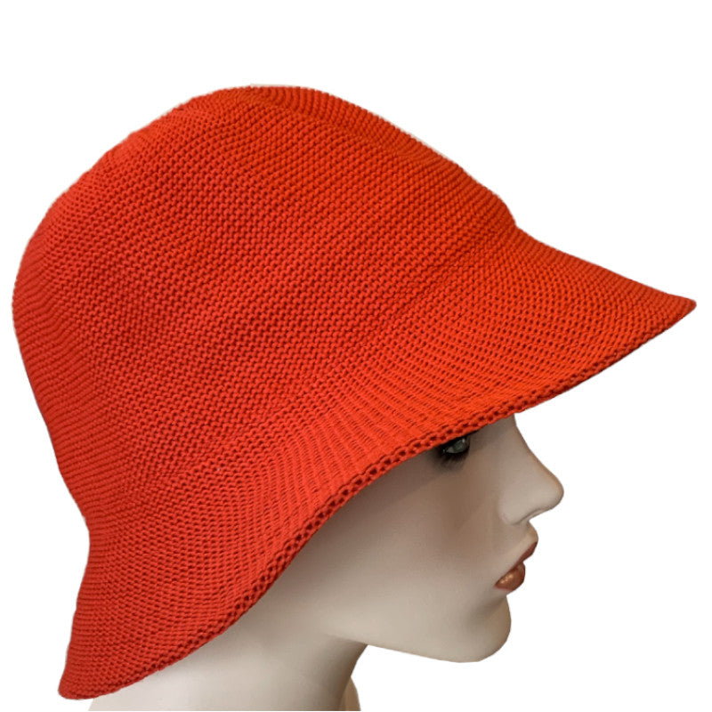 Sun Hat - Bucket Style - Knitted Polyester - Black, Red or White