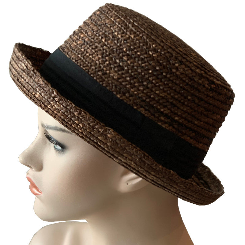 Sun Hat - Short Brim - Straw - Brown