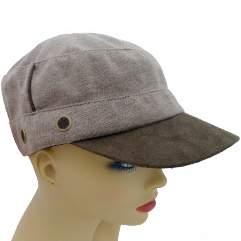 Peaked Caps - Brown Polyester Knit