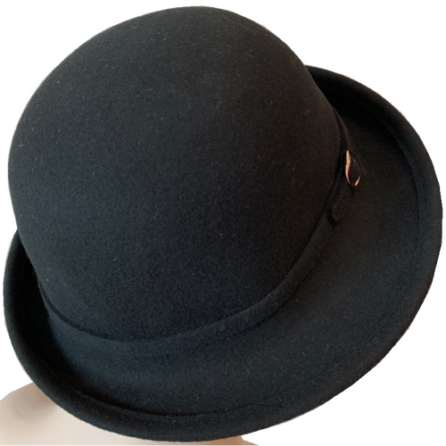 Fashion Hats - Cloche - Black with Buckle Trim