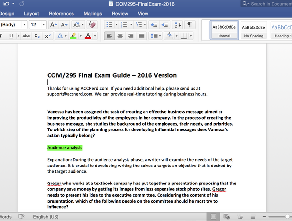 COM 295 Final Exam Answer Guide