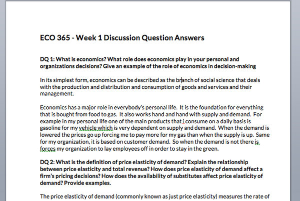 Preview of discussion question answers in ECO 365 course