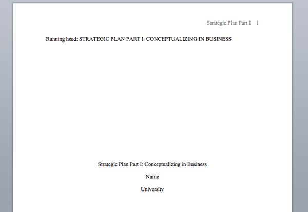 Strategic Plan Part 1 - Conceptualizing a Business