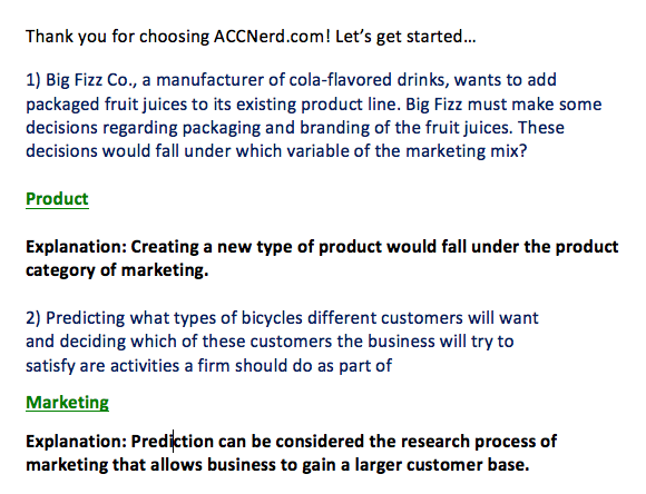 Answers and Explanations for the Marketing 421 Final Exam