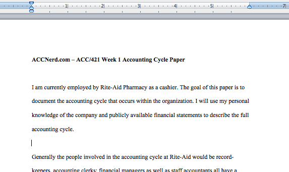 ACC 421 Week 1 - Accounting Cycle Paper