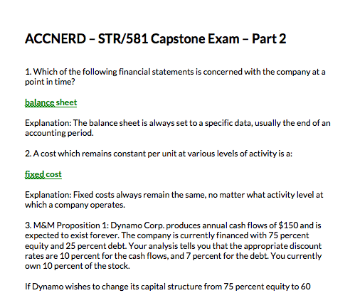 Screen shot of STR 581 Final Exam part 2