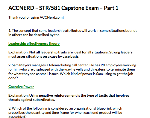 STR 581 Capstone Exam Part 1