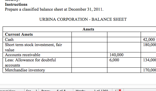 Assets section of Urbina balance sheet in Problem 12-6A