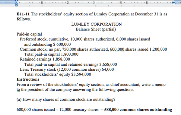 Screenshot of Lumley Corporation E11-11 Solutions and Answers