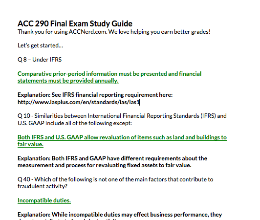 ACC 290 Wiley Plus final exam study guide answers