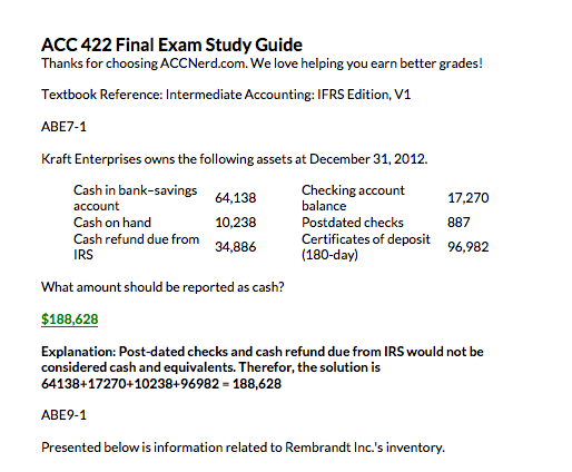 Screenshot of the 2014-15 WileyPlus final exam for ACC 422