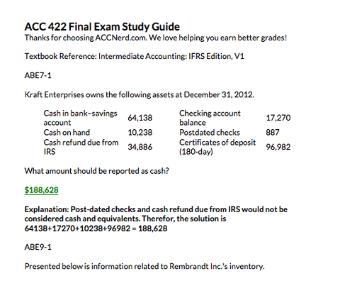 acc 422 final exam docx Tutorials for question #00003809 categorized under accounting and accounting.