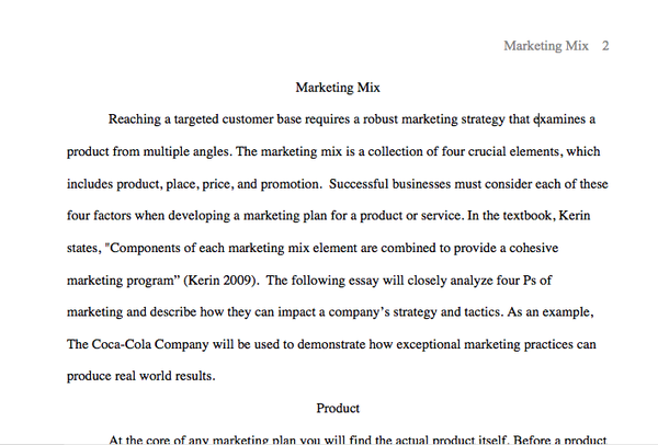 MKT 421 Week 2 - Marketing Mix Paper