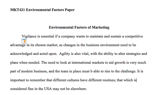 MKT 421 Week 5 - Environmental Factors Paper