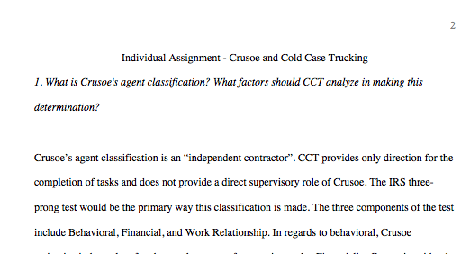 LAW 421 Week 4 Individual - Crusoe Cold Case Trucking Essay