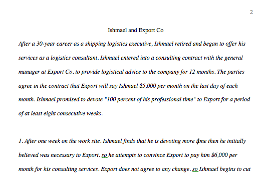 LAW 421 Week 3 - Team Paper Ishmael and Export Co