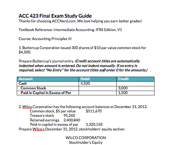 First page of ACC 423 final exam wileyplus