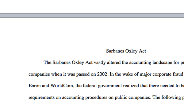 acc 561 sarbanes oxley Acc 561 sarbanes-oxley act of 2002 week 2 paper subject: business you decide paper students are required to read through the you decide scenario and write a neatly.