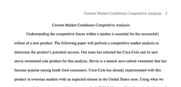 Page 1 of Current Market Conditions Competitive Analysis
